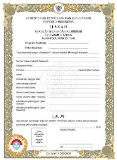 Blangko Ijazah SMK 2018 Kurikulum 2013, 3 Tahun
