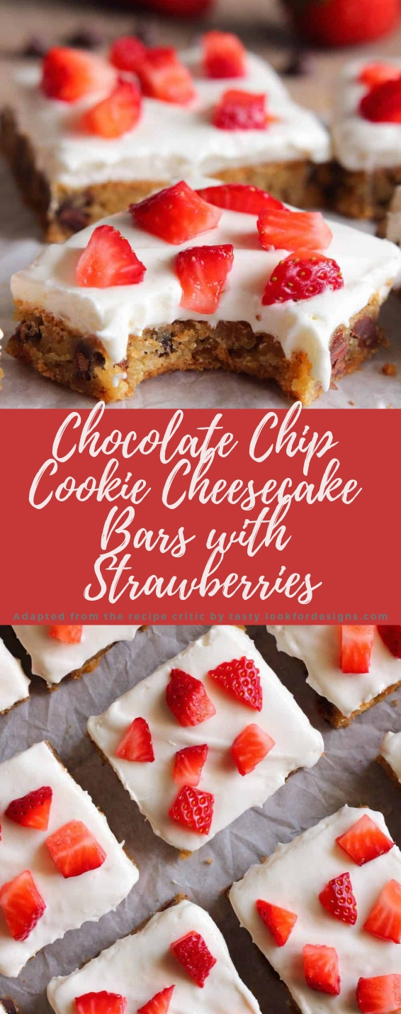 Chocolate Chip Cookie Cheesecake Bars with Strawberries