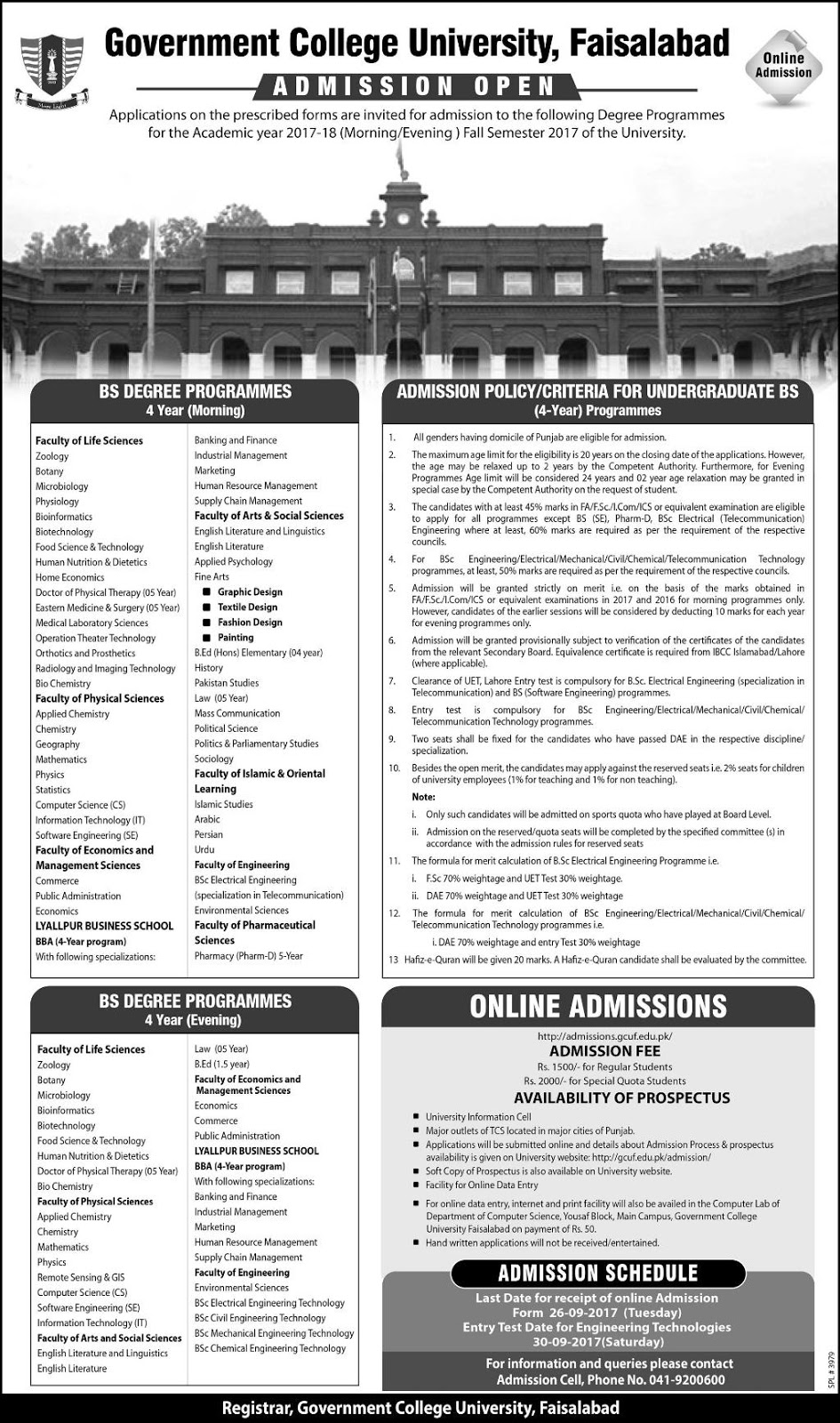 Admissions Open in Govt College University GCU Faisalabad for BS - 2017