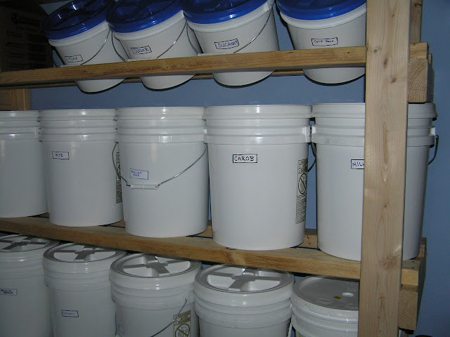 pantry with bucket storage