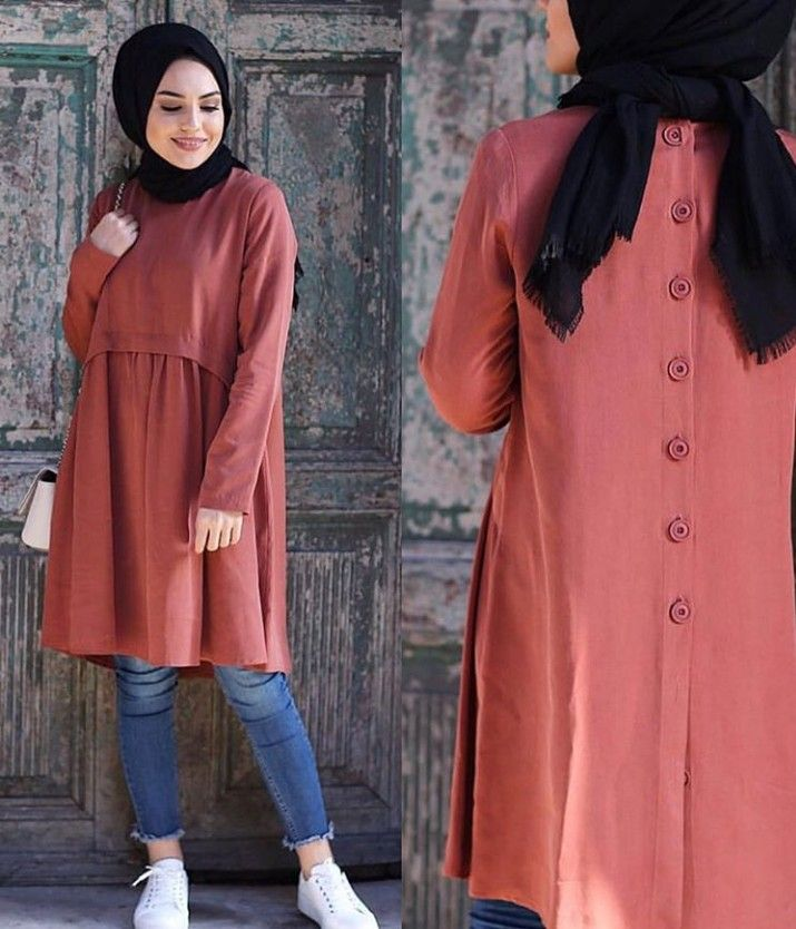 Tunique hijab ample boutonnée , style 2019
