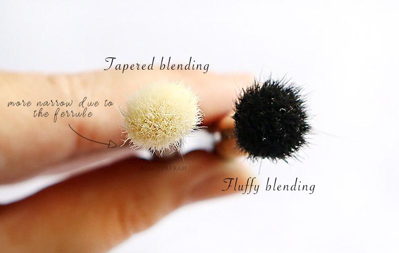 Fluffy blending brush and tapered blending brush difference