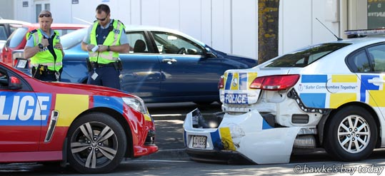 The rear bumper fell off a police car after it was involved in a minor collision with another vehicle on Eastbourne St West, Hastings. photograph