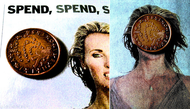 Magazine page with image of woman, whos face is covered by a Euro coin.