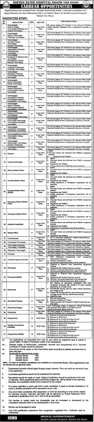 Shaikh Zayed Hospital Announced Jobs in Rahim Yar Khan