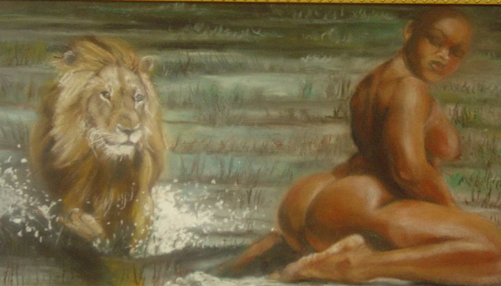 Nude Naked Woman On A Lion 119