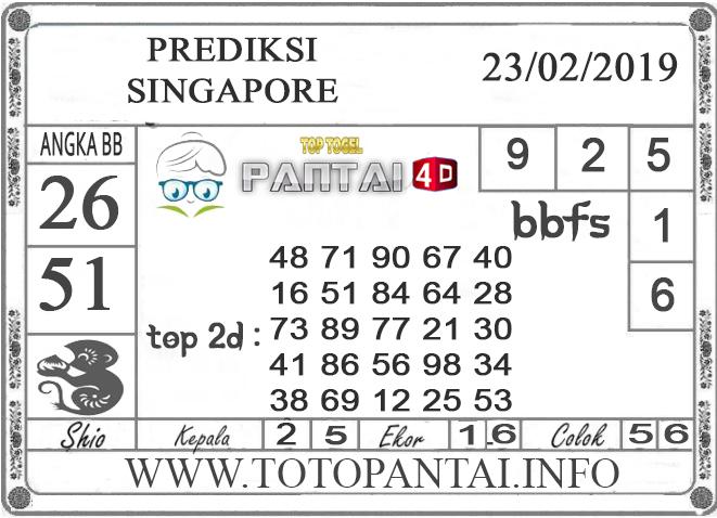 """Prediksi Togel """"SINGAPORE"""" PANTAI4D 23 FEBRUARI 2019"""