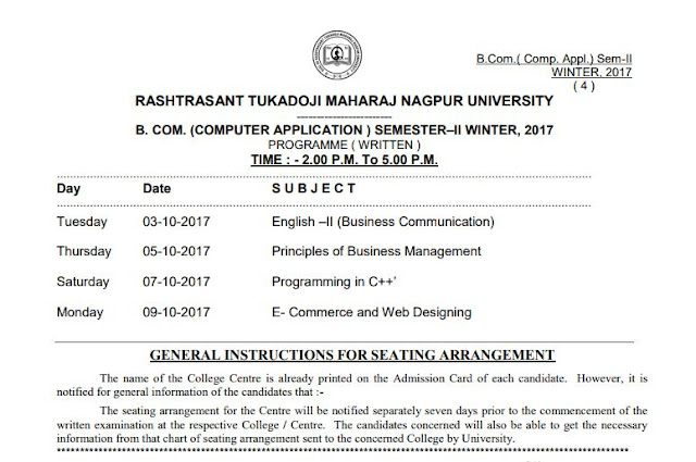 RTMNU Time Table BCom Comp Appl Sem II Exam Winter 2017