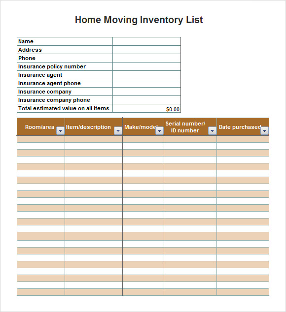 microsoft word inventory template