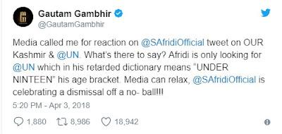 Gautam Gambhir today slammed Shahid Afridi for tweet on Kashmir