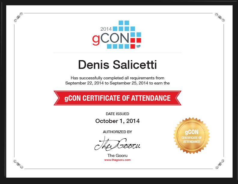 gCON Certificate of Attendance