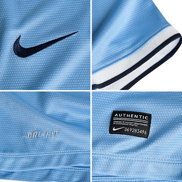b5ec8325a The Manchester City 13-14 Home Kit is for the first time made by US brand  Nike. Manchester City 2013-14 Home Shirt is light blue colored as usual and  ...