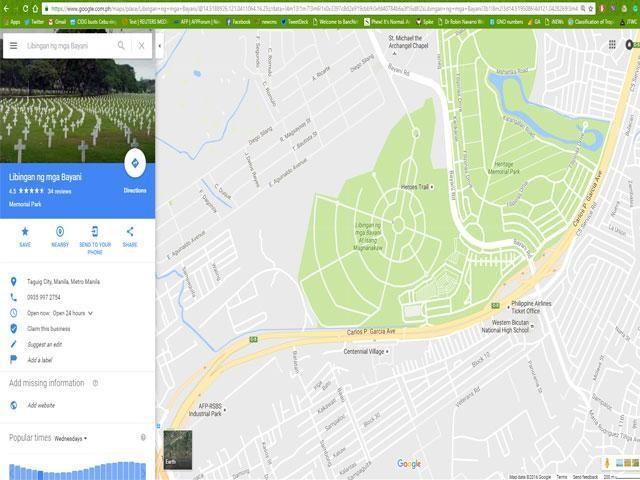 SHOCKING: Libingan ng mga Bayani changed to Libingan ng mga Bayani at Isang Magnanakaw in Google Maps.