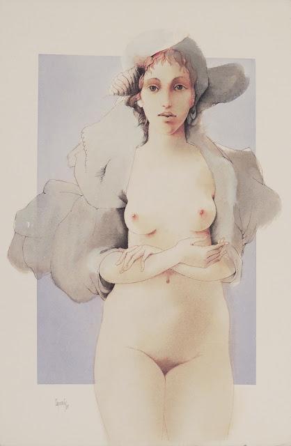 Glauco Capozzoli dibujo desnudo azul