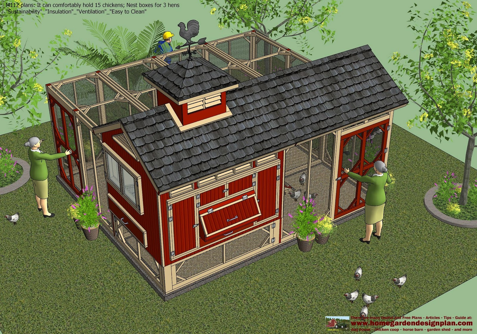 Home garden plans m112 chicken coop plans construction for Plans for chicken coops