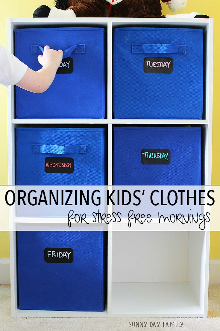 Organize your kids clothes for a stress free morning routine! Let little kids become more independent and reduce morning meltdowns with this simple organizing solution. Makes a super cute DIY for their room too!