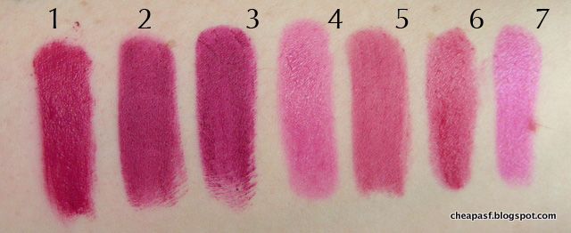 Swatches of 1. Urban Decay Vice Lipstick in Jilted; 2. Urban Decay After Dark; 3. Wet N Wild Sugar Plum Fairy; 4. Revlon Balm Stain in Lovesick; 5. e.l.f. Essential Lipstick in Gypsy; 6. Tarte Lip Creme in Heartfelt; and 7. Wet N Wild Silk Finish in Nouveau Pink.