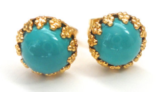 Turquoise Gold Studs - Tiny Post Earrings: $22