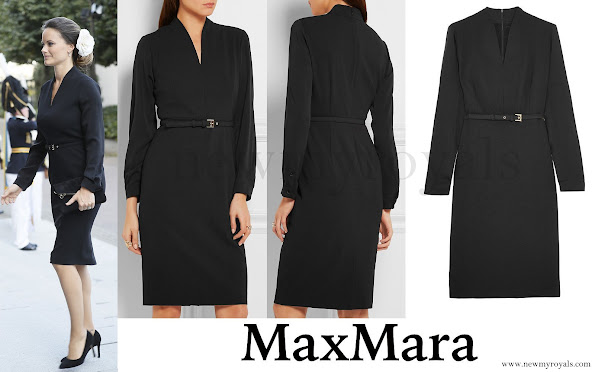 At the opening session, Princess Sofia wore an Max Mara Tivoli Stretch Wool-Silk Crepe Dress. Sofia Hellqvist Style