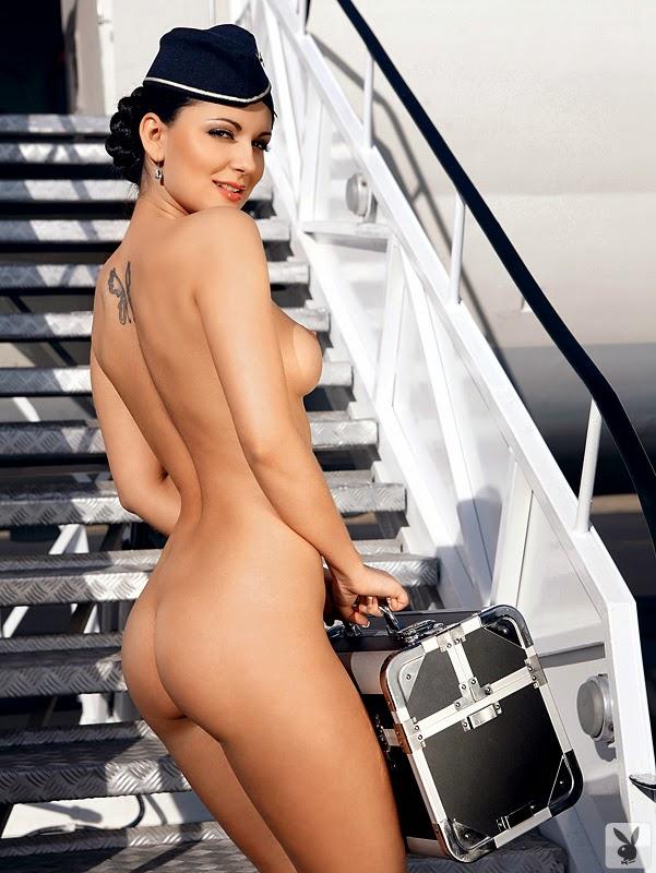 Air hostesses show boobs on an airplane 8