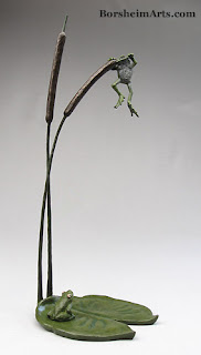 Bronze Sculpture Cattails and Frog Legs by Kelly Borsheim