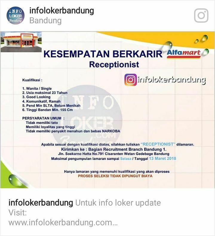 Lowongan Kerja Receptionist Alfamart Bandung Maret 2018