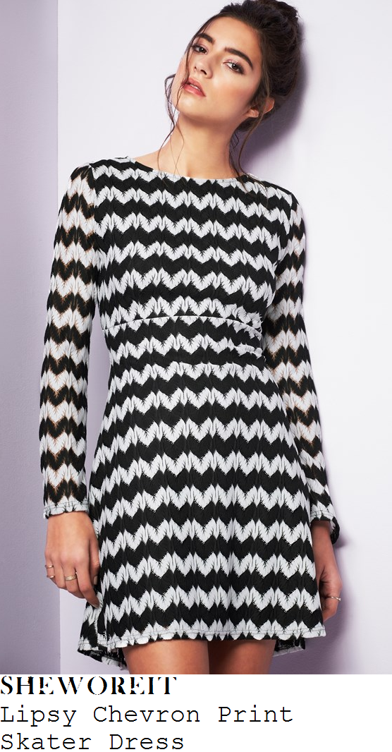 stephanie-davis-black-and-white-monochrome-chevron-print-long-sleeve-skater-mini-dress-loose-women