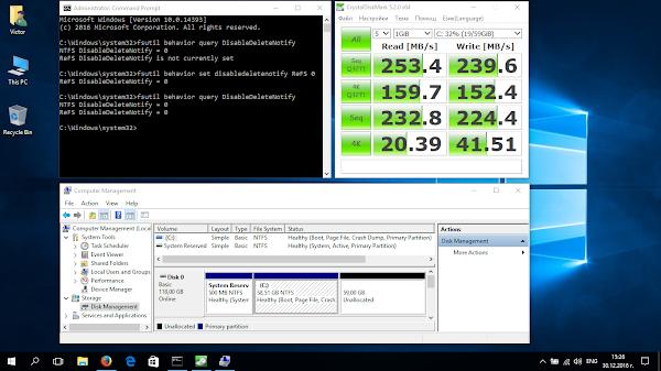 бенчмарк на Netac NT620 под Windows 10 в Fujitsu Lifebook AH530