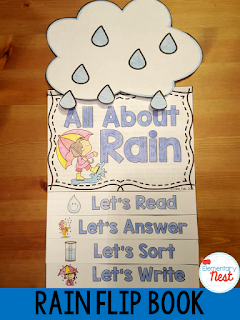 Rain Flip Book- reading, writing, and comprehension activities for the science topic