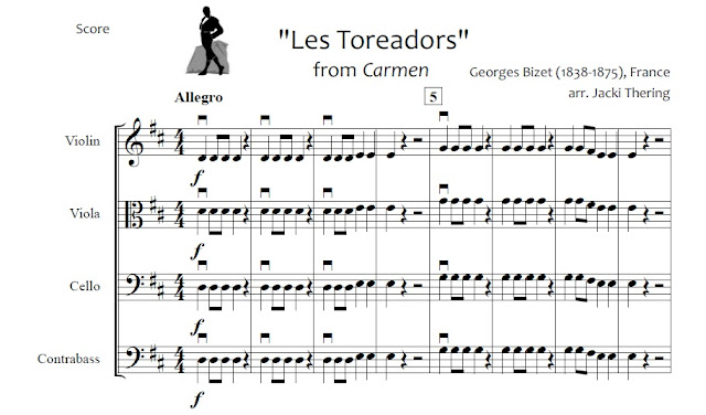 Les Toreadors sheet music arrangement for beginning orchestra
