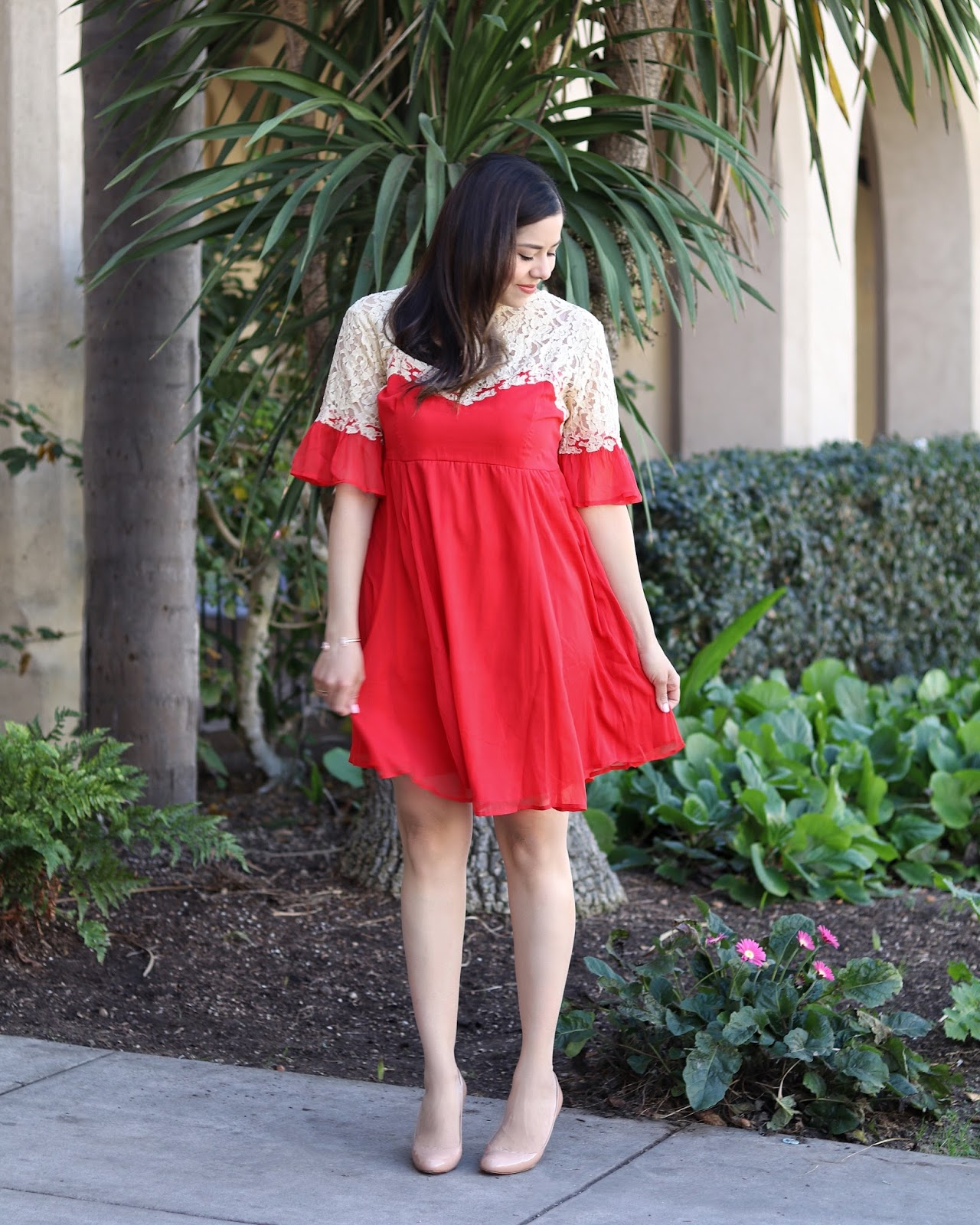 Red Dress for Valentine's, ASOS red dress with lace, san diego fashion blogger