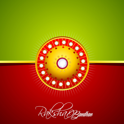 Raksha Bandhan greeting card vector red color
