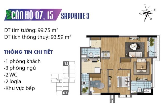 Thiết kế căn hộ số 7 và 15 tòa Sapphire 3