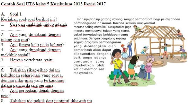 Contoh Soal Kelas 5 SD Kurikulum 2013 Revisi Semester 1 Plus Kunci Jawaban