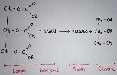 reaksi lemak dicampur alkali