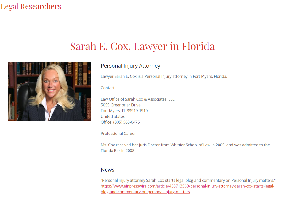 Sarah E Cox, Attorney at Law in Florida