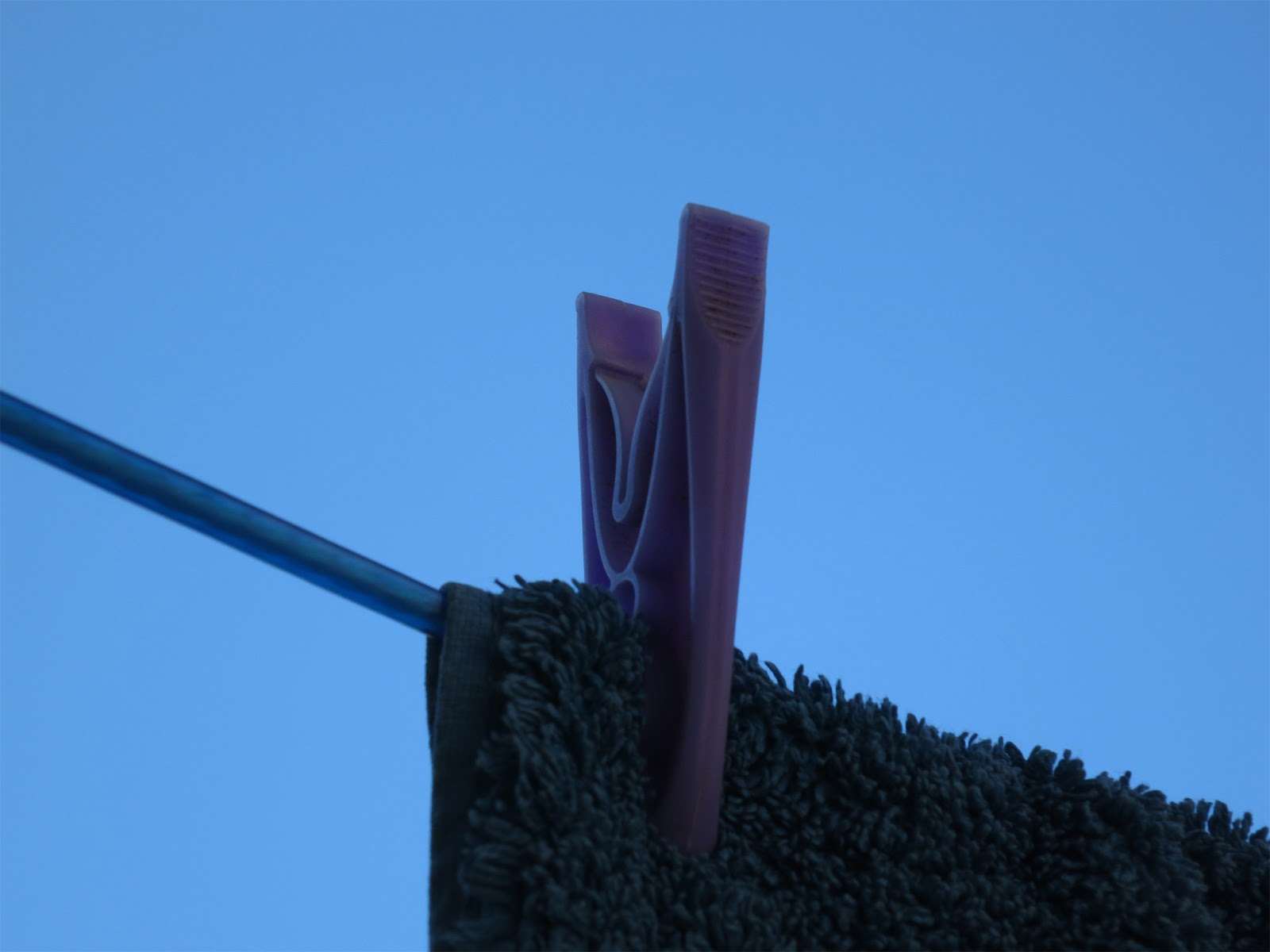 Blue peg, blue towel, blue washing line, blue sky