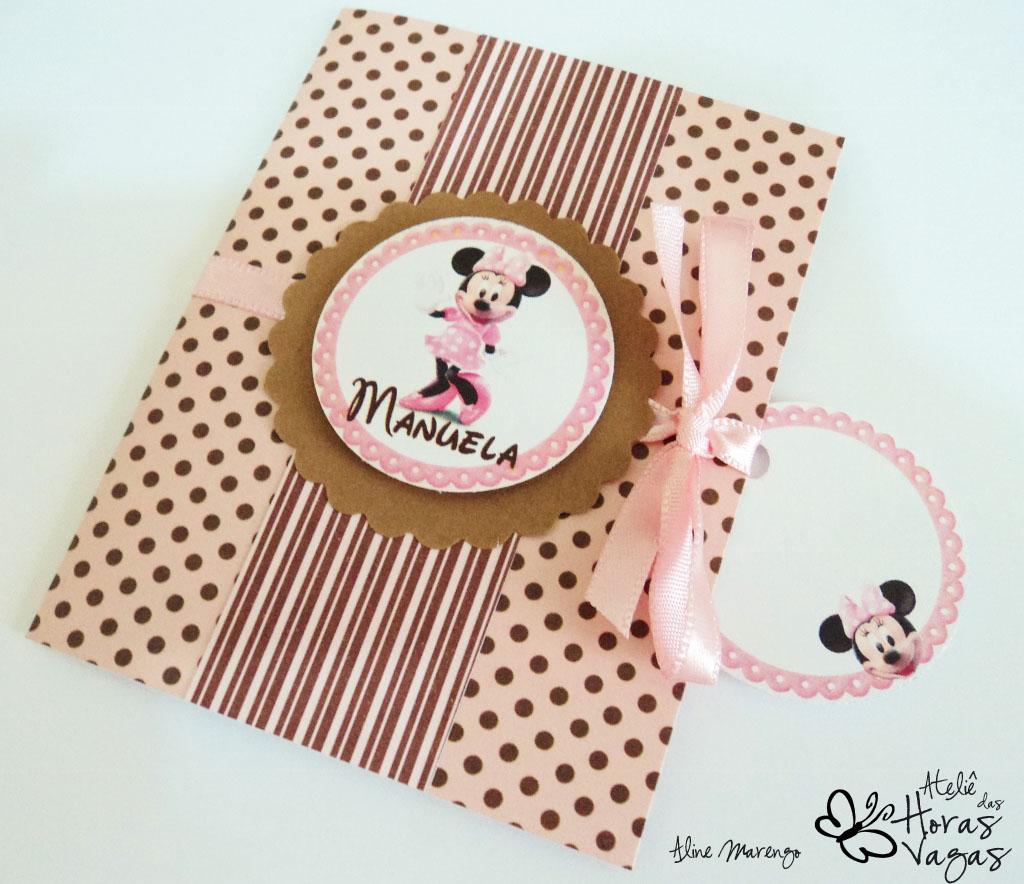 convite artesanal infantil aniversário minnie mouse poá marrom rosa envelhecido 1 aninho