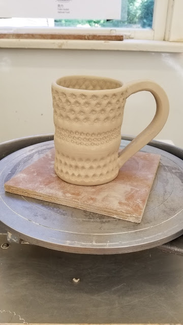 Textured stoneware pottery mug (or stein) by Lily L, in progress.
