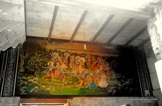 A painting adorns the walls at Chaurasi Khamba Temple,  Old Gokul Mahavan