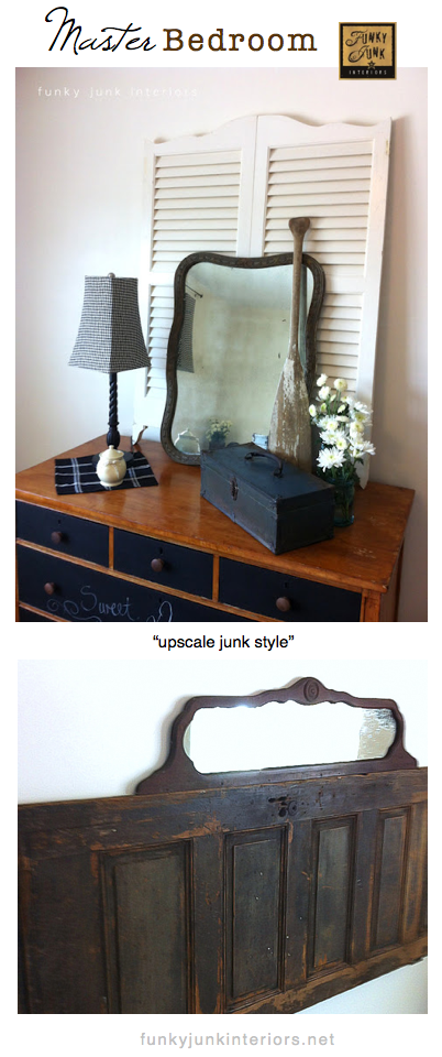 Master Bedroom reveal for a habitat house, upscale junk style. via Funky Junk Interiors