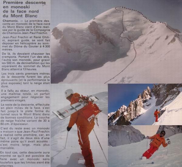 première descente du mont blanc en monoski