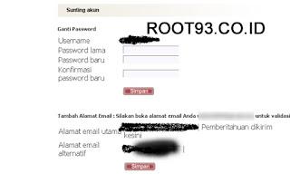 mencoba mengganti password pengguna