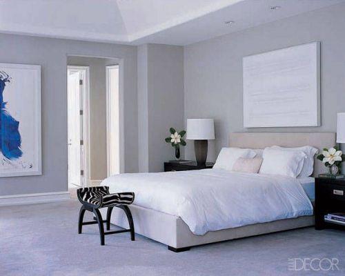 Monique Lhuillier stylish grey bedroom