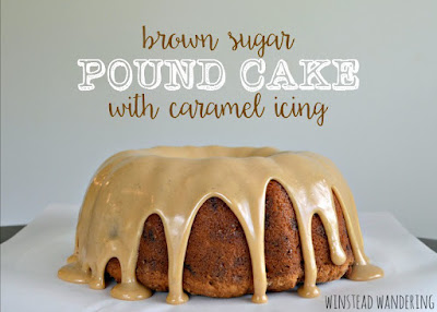 brown sugar pound cake with caramel icing