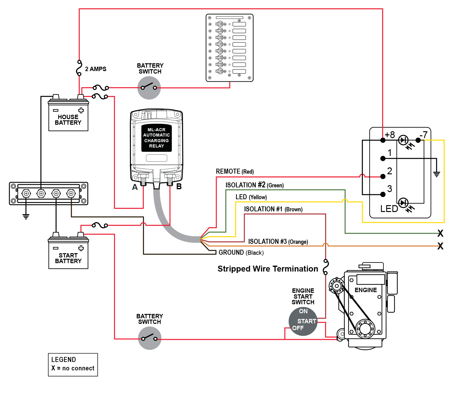 Blue Sea ML-ACR automatic charging relay wiring diagram.