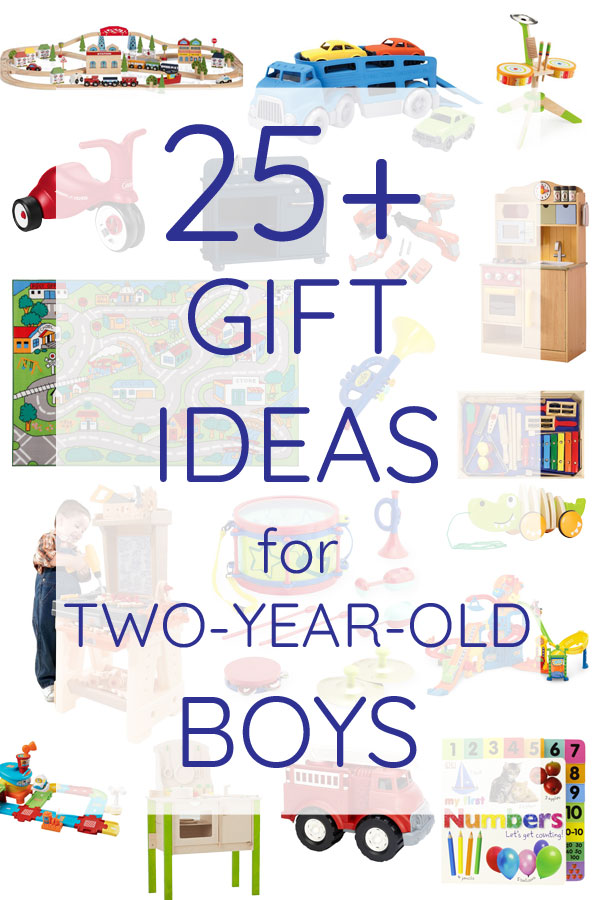 The best list of 25+ gift ideas for two year old little boys. Lots of fun toys and books for toddler boys.