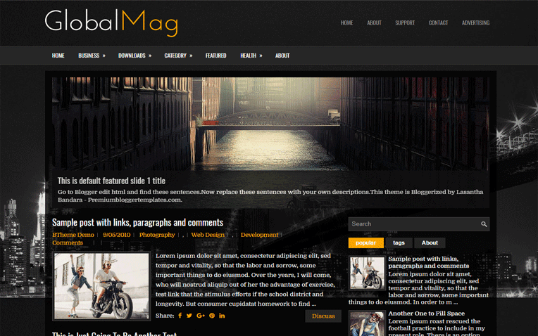GlobalMag Free Blogger Template
