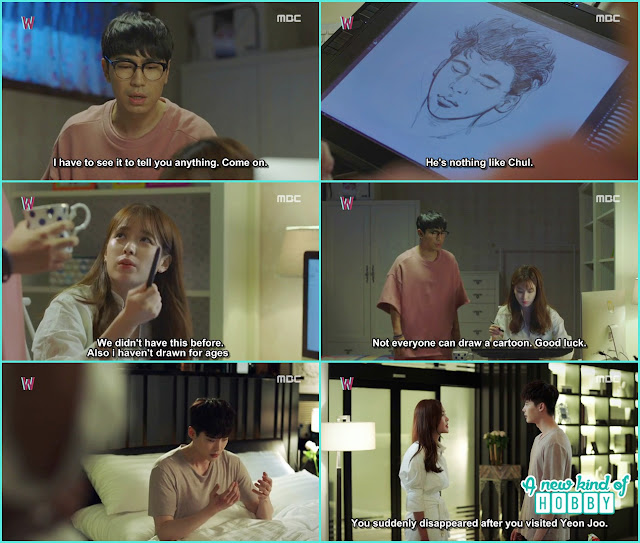 Yeon joo draw Kang chul on the screen - W - Episode 7 Review - Korean Drama 2016