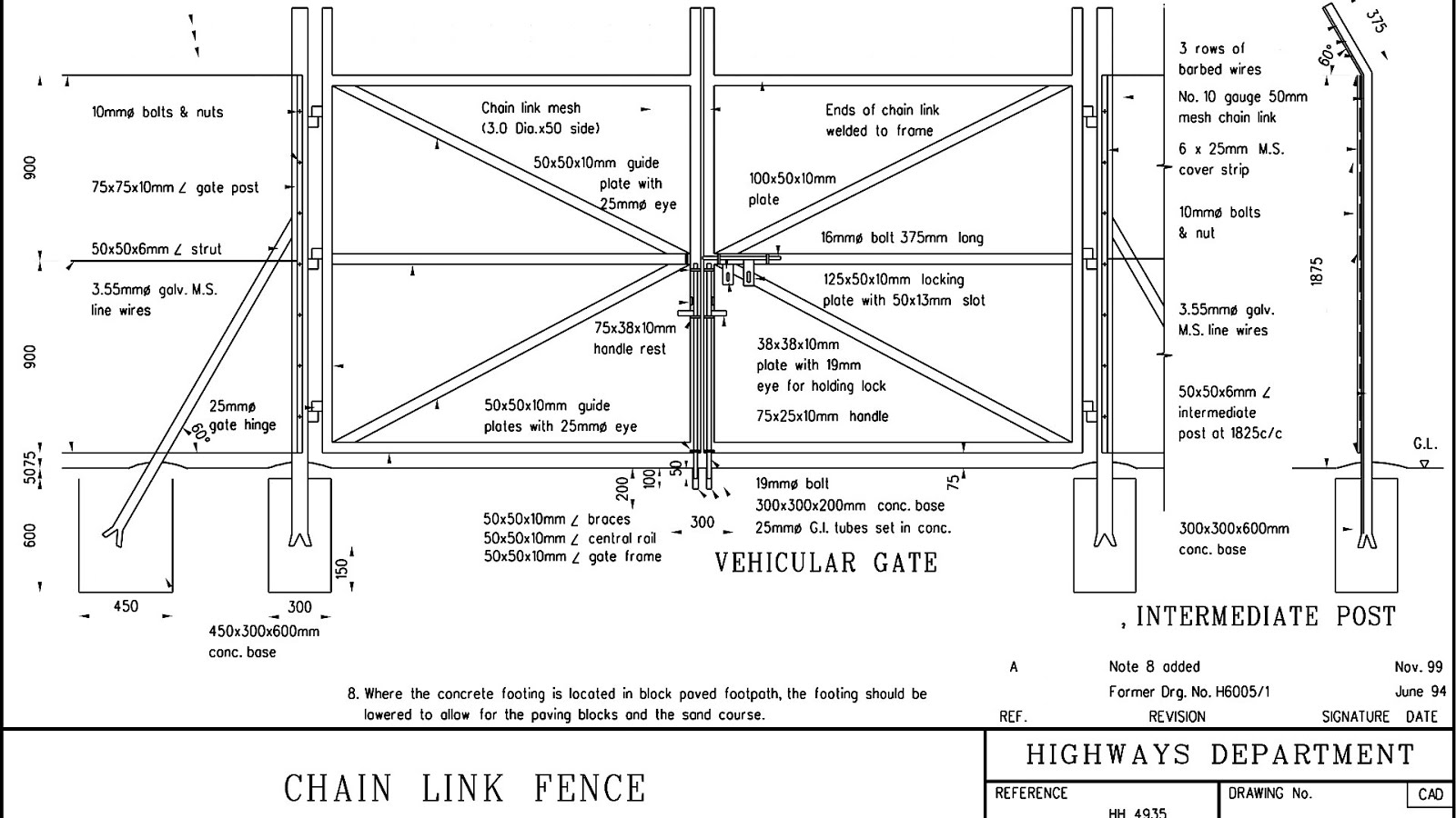 Chain Link Fence Drawings